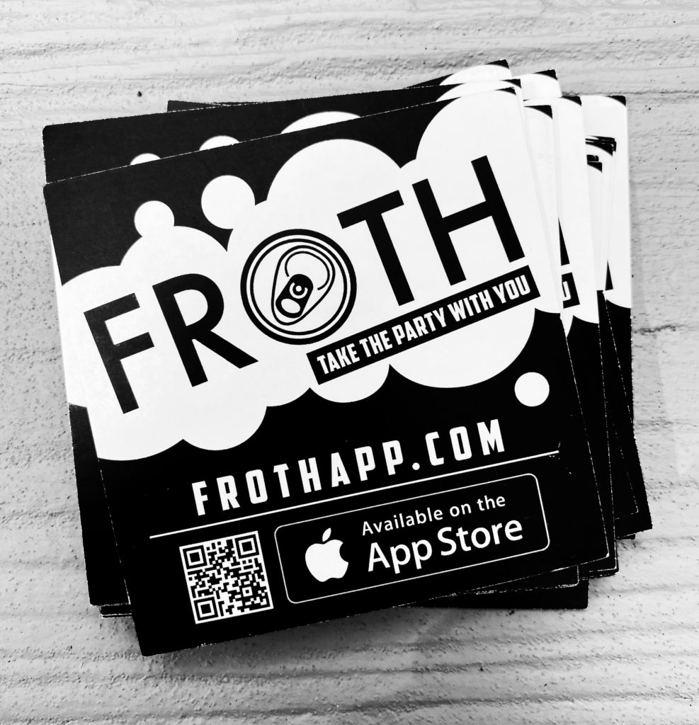 Froth App pile of stickers